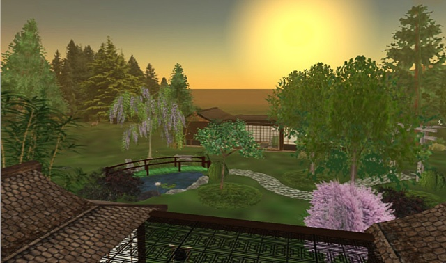 This is a view from the roof of my home with Dakini's house on the other side. This garden was created by Dakini and stood right in the center of the original Zen Retreat.